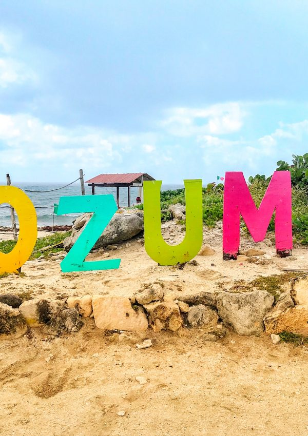 Cozumel sign on beach