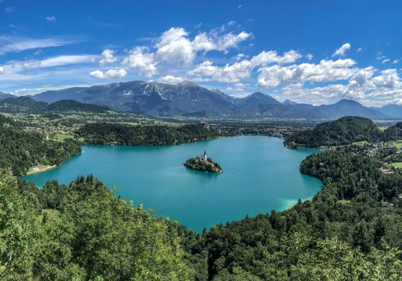 View of Lake Bled and island in middle
