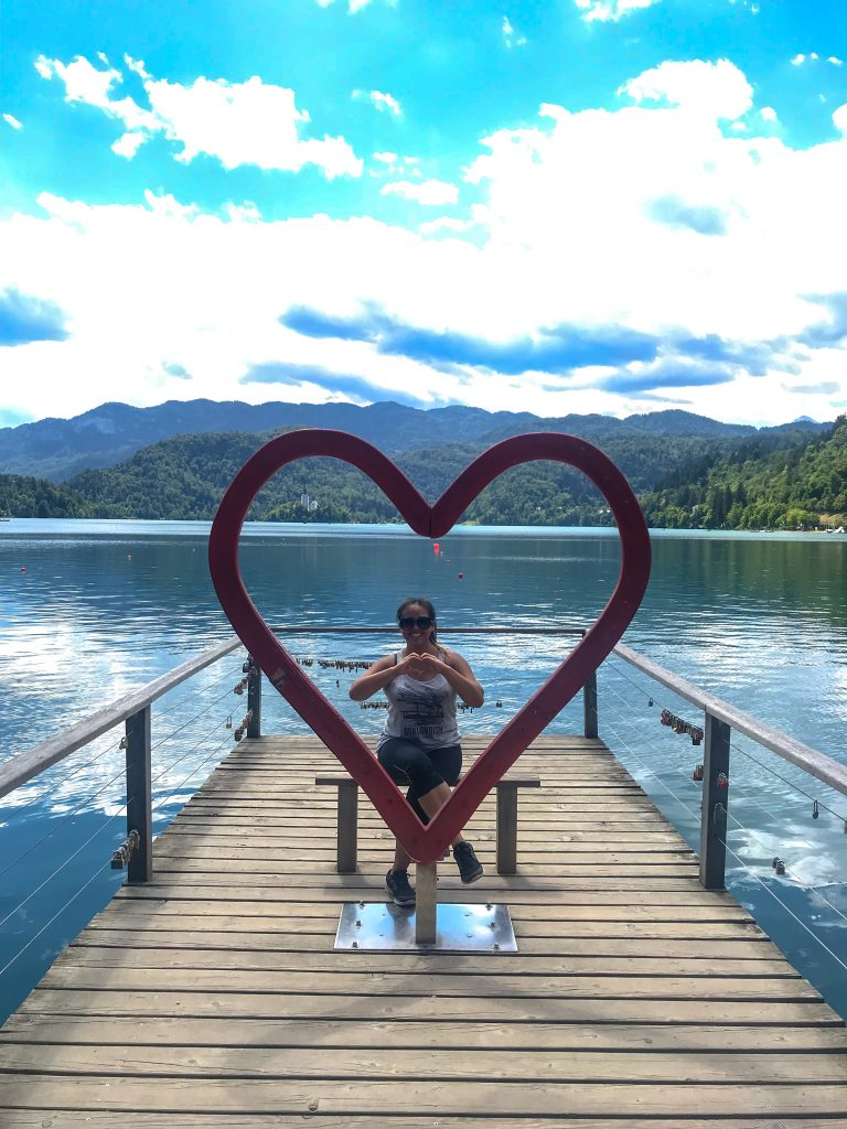 Heart piece in front of Lake Bled