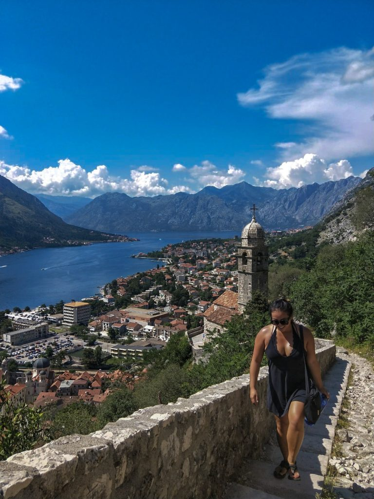Hiking St Johns Fortress in sandals with view of Kotor