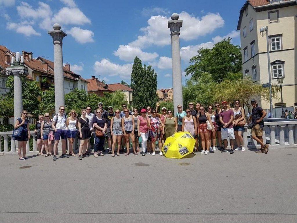 Group photo of free walking tour in Ljubljana