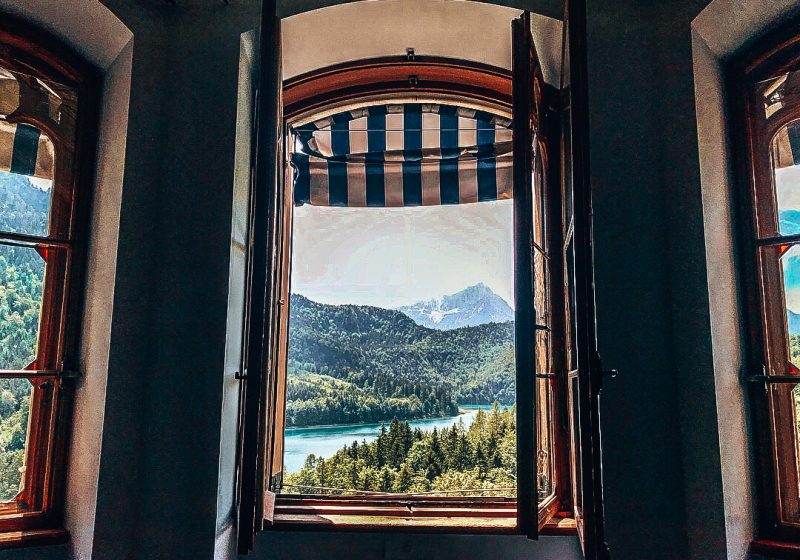 Window and view from room in Germany
