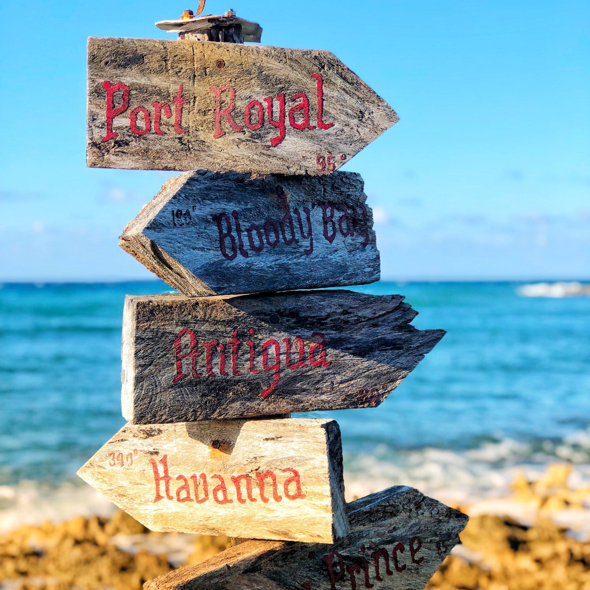 Negril post on beach of directions of places