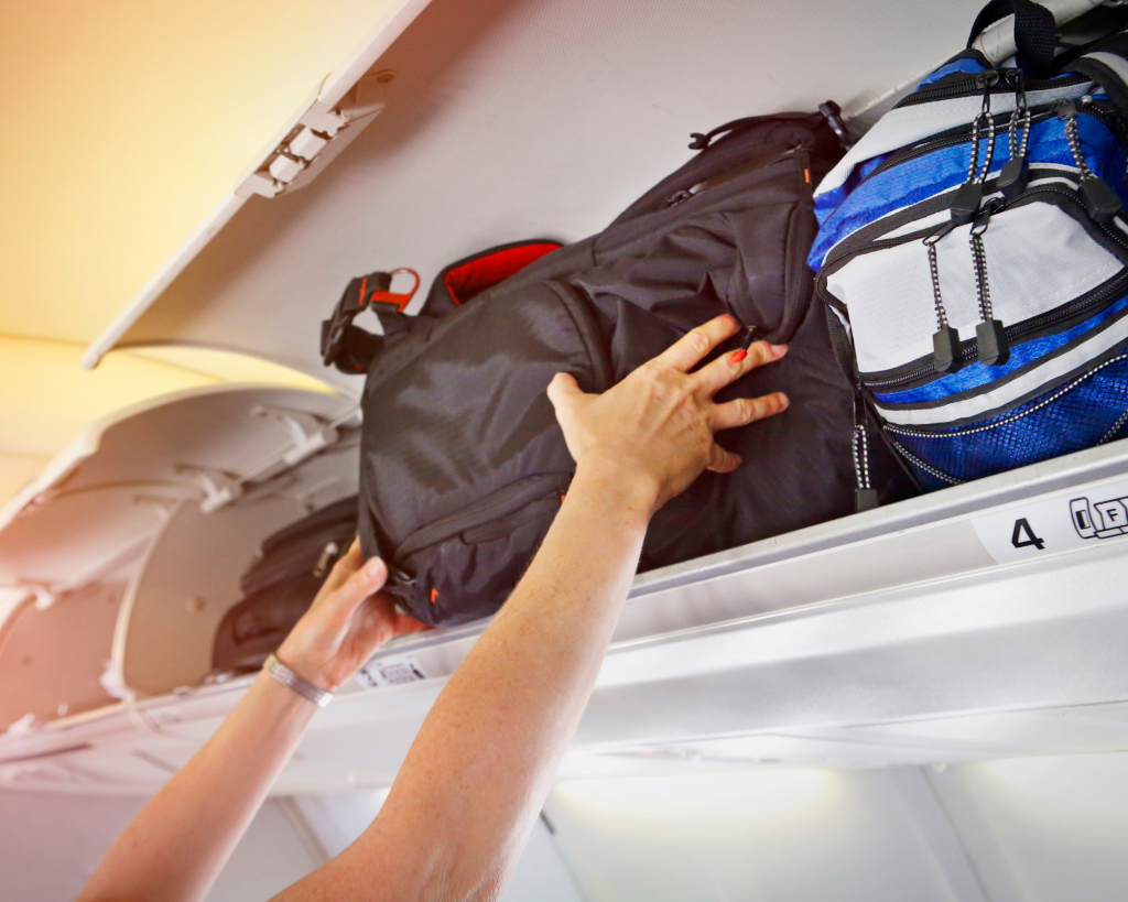 Overhead bin on airplane