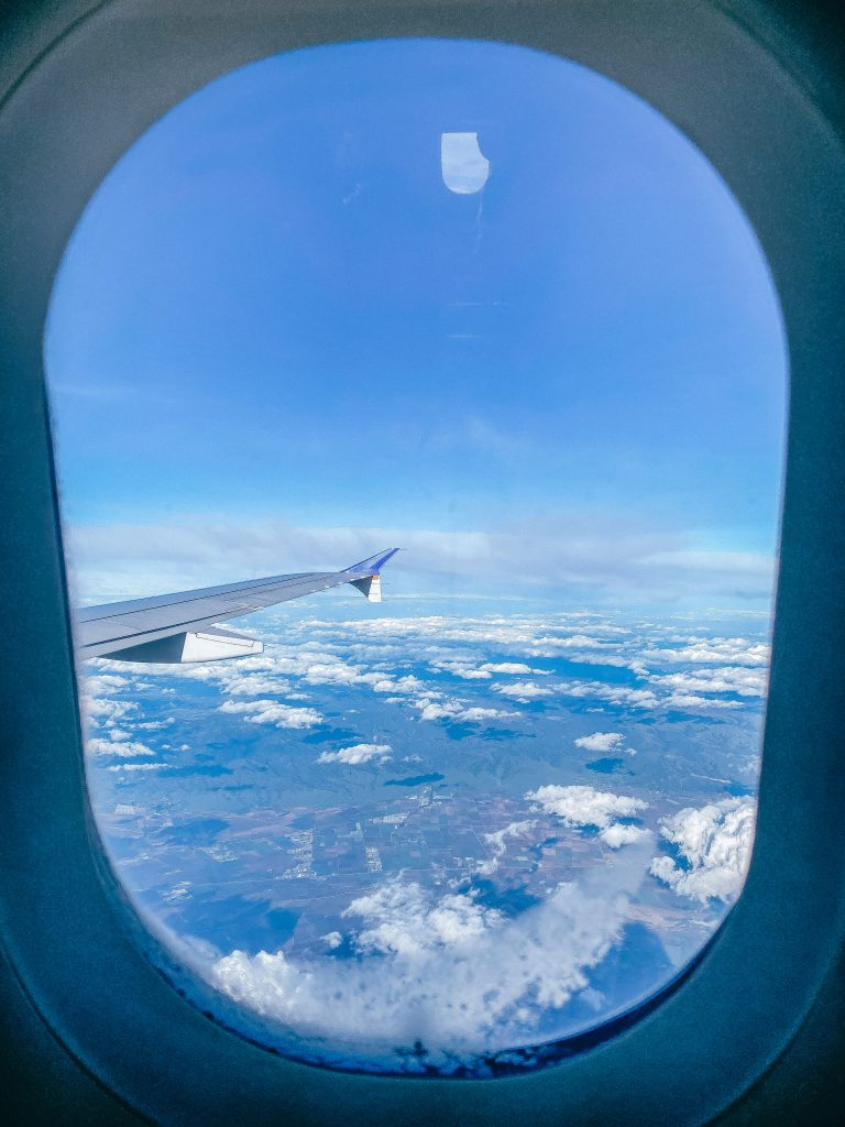 Window seat of plane view