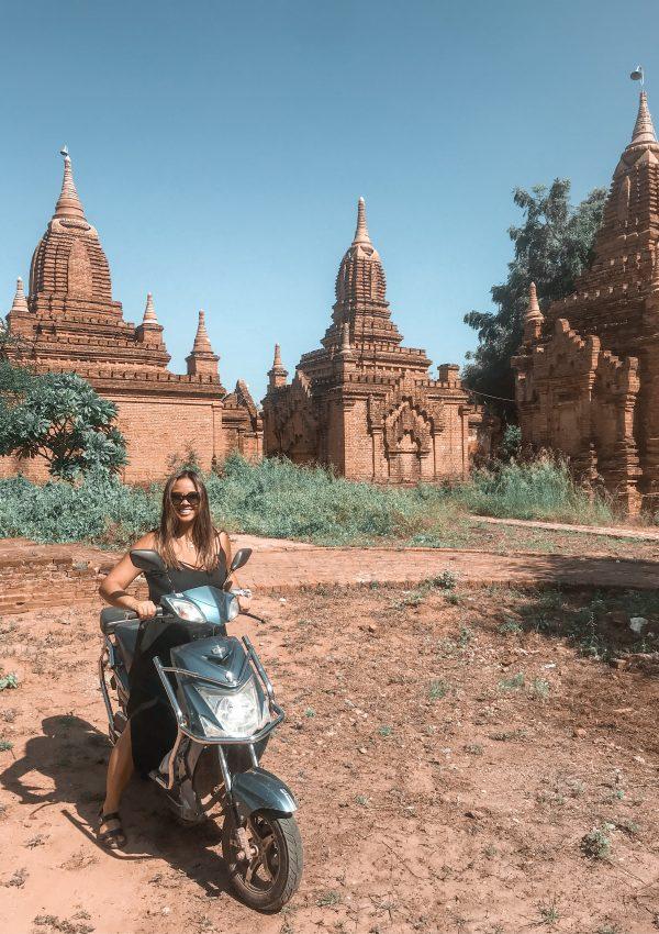Moped in front of pagodas in Bagan, Myanmar